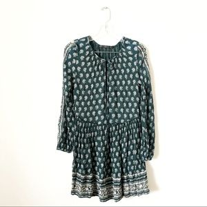Zara Green Flower Print Prairie Ribbon Tie Dress!